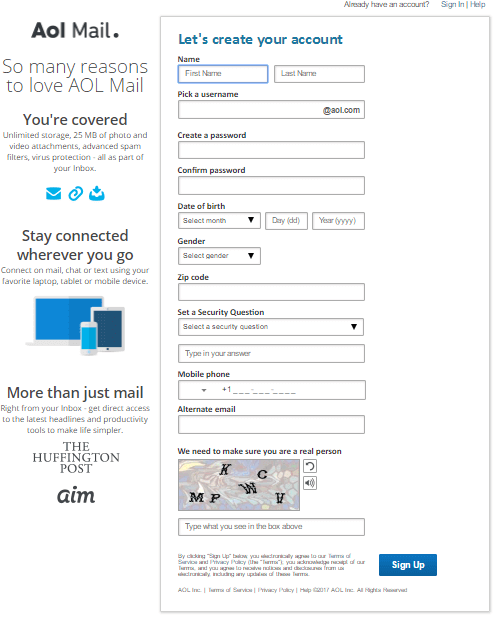 Sign Up AOL Mail Account