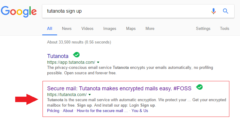 Sign Up Tutanota Mail