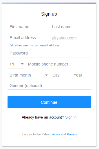 Yahoo account mail Sign Up