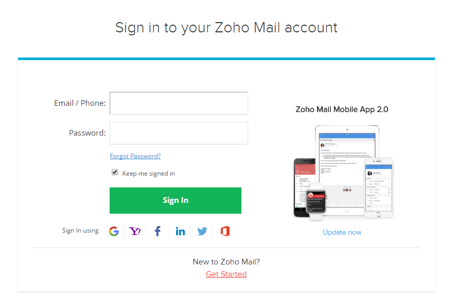 Sign In Zoho Mail